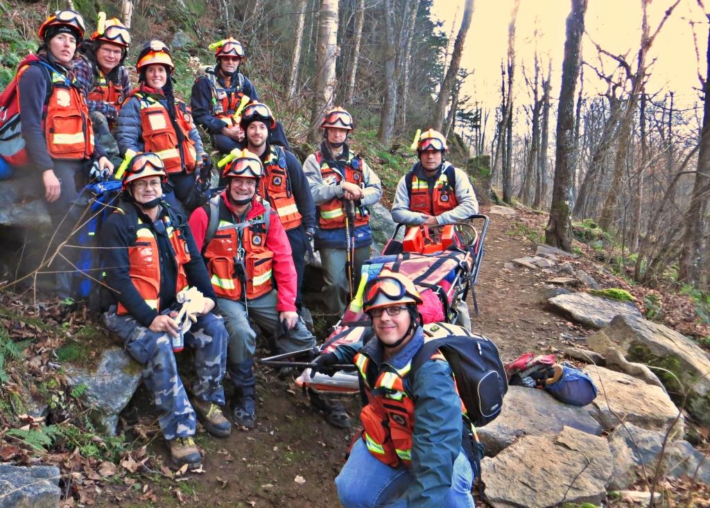 Quelques-uns des bénévoles à l'entraînement au Parc National du Mont-Mégantic